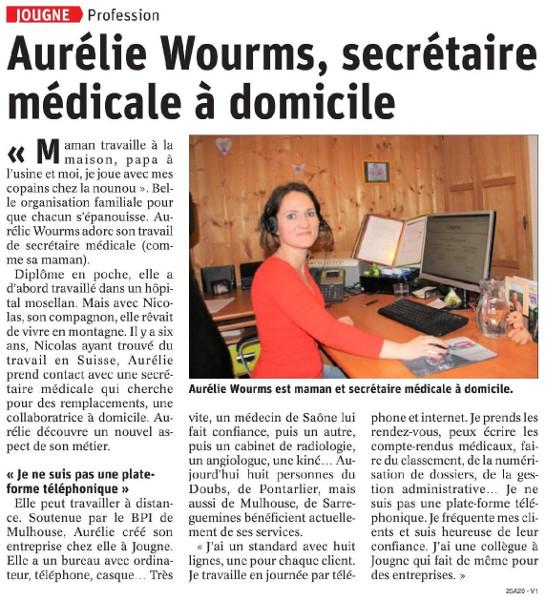 Aurélie Wourms, secrétaire médicale à domicile